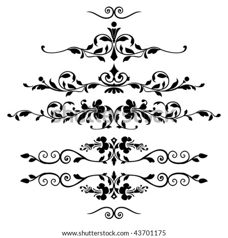 Set of floral ornaments - stock vector