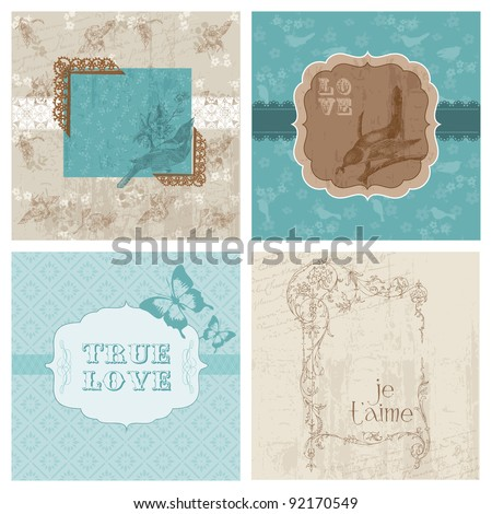 Set of Floral Retro Cards - with frames and place for your text or photo in vector - stock vector