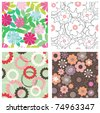 Set of floral seamless patterns - stock vector
