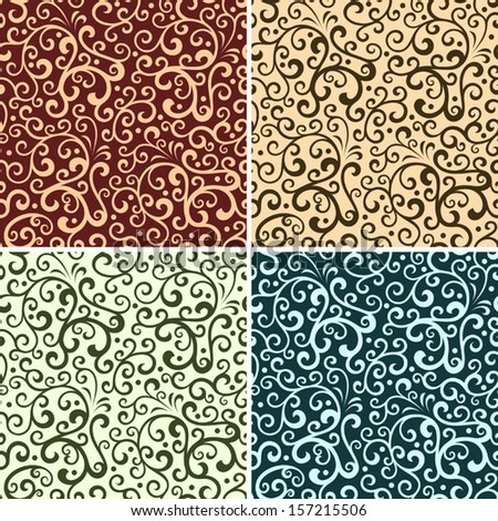 Set of 4 floral seamless patterns.