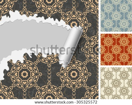 Set of floral seamless patterns. - stock vector