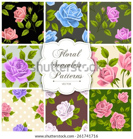 Set of floral seamless patterns. Vector illustration - stock vector