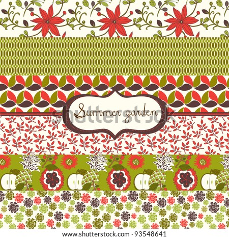 set of floral summery wallpapers - stock vector