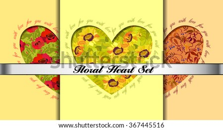 Set of floral Valentines card templates. Decorative hearts with flowers and text for you with love. Love cards. Valentines day love background. Heart shaped flowers greeting cards, colorful background - stock vector