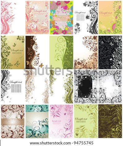 Set of floral vertical cards - stock vector