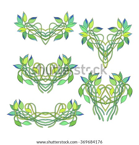 Set of floral vignettes isolated on white background. Twisted stems and buds of Tradescantia. Perfect for greetings, invitations, announcement, web design.  - stock vector