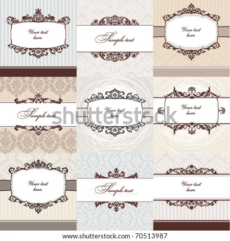 Set of floral vintage frame. Great for greeting cards and invitations. - stock vector