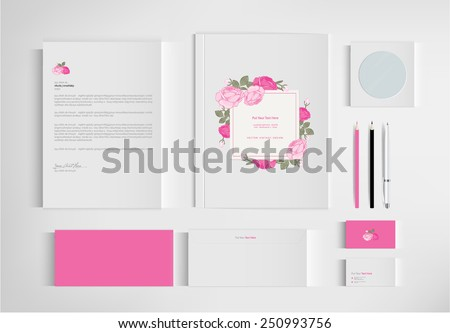 Set of floral vintage wedding cards invitations vector - stock vector