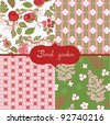 set of floral wallpapers - stock vector