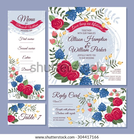 Set of floral wedding cards vector illustration - stock vector