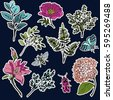 set of flower and plant patches ...