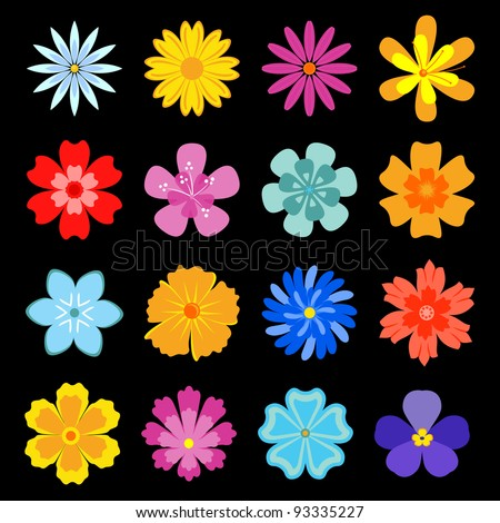 Set of flower blossoms for design and decoration. Jpeg version also available in gallery - stock vector