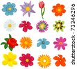 set of flower graphics vector - stock photo