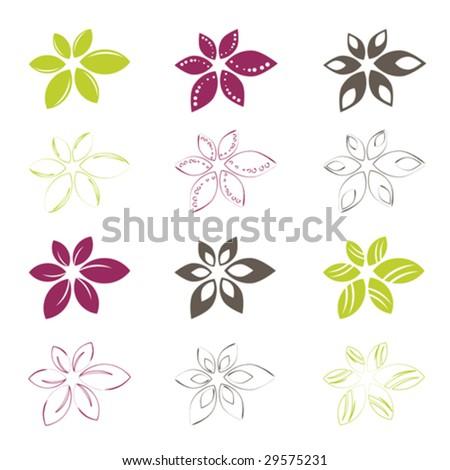 set of flower icons, vector illustration - stock vector