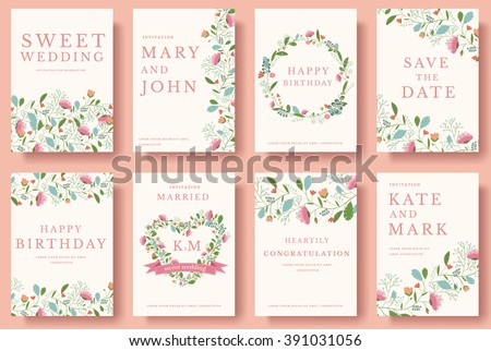 Set of flower invitation cards. Invite wedding. Wedding background. Wedding illustration. Wedding invite flyer. Wedding invite poster. Wedding invite banner. Wedding invite  layout background.  - stock vector