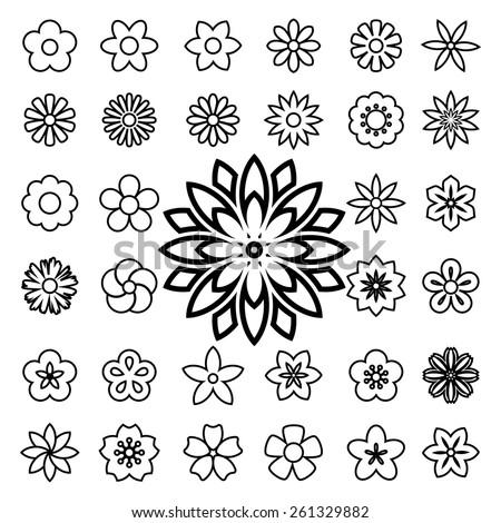 Set of flower line icons.Illustration eps10 - stock vector