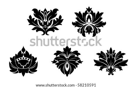 Set of flower patterns. Jpeg version also available - stock vector
