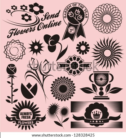 Set Flower Symbols Icons Logos Signs Stock Vector 128328425
