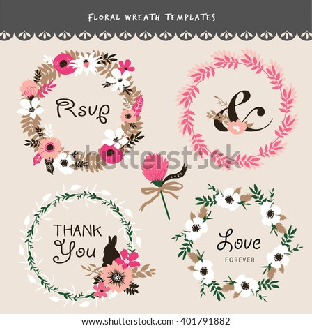 Set of flower wreath and flourish elements - stock vector