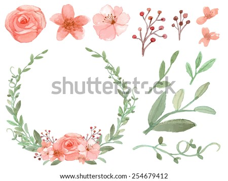 Set of flowers and leaves vector on white background - stock vector