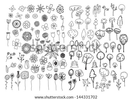 Set of flowers and trees doodles - stock vector