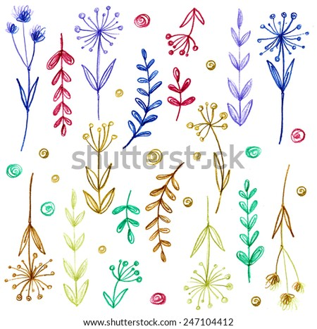 Set of flowers, garland. Drawing with crayons. Bright tsvetyy and leaves. Vector flowers - stock vector