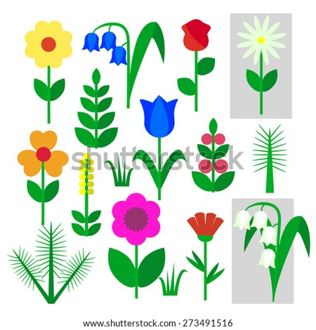 Set of flowers insulated painted on a white background. Child's drawing rose, Bluebell, chamomile, Lily of the valley, carnation, branch, tree, leaf, grass. Vector illustration - stock vector