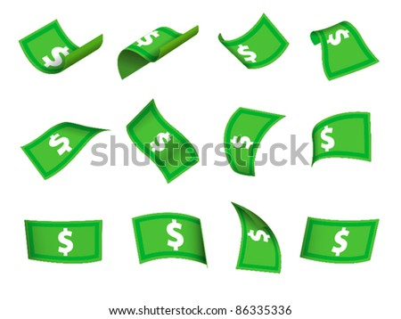 set of flowing cash - stock vector