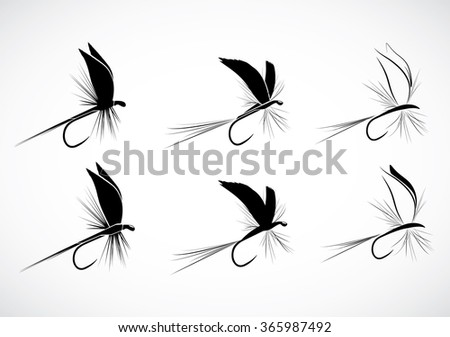 Set of Fly fishing lure - stock vector