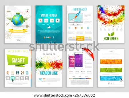 Set of Flyer, Brochure, Background, Infograph, Banner Designs. Vector Poster Templates. Paint Splashes Abstract Background for Business Card - stock vector