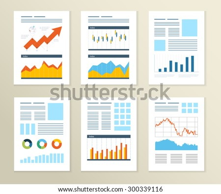 Set of Flyer, Brochure Design Templates. Financial report and financial strategy. Mobile Technologies, Applications and Online Services Concept. - stock vector
