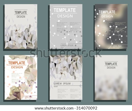 Set of Flyer, Brochure Design Templates. Geometric Triangular Abstract Modern Backgrounds.  Typographic Emblems, Logo, Banners - stock vector