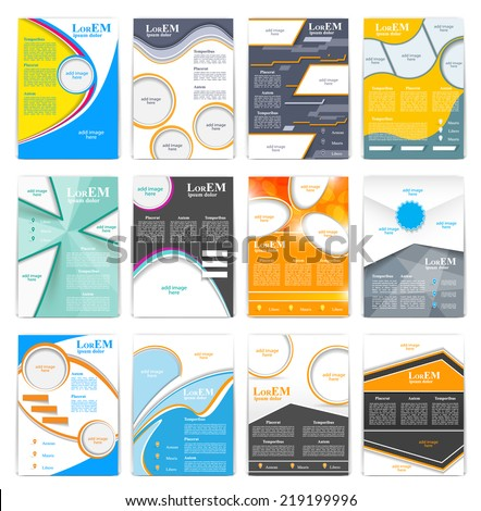 Set of flyer, brochure or magazine cover template - stock vector
