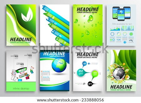 Set of Flyer Design, Web Templates. Brochure Designs, Technology Backgrounds. Mobile Technologies, Infographics  ans statistic Concepts and Applications covers. - stock vector