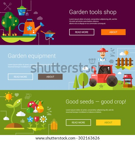 Set of flyer templates of vector modern flat design farm and agriculture icons and elements  - stock vector