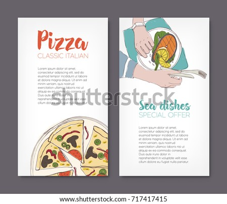 Set Flyer Templates Colorful Drawings Classical Stock Vector
