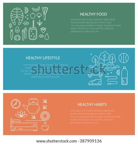 Set of flyers with diet and healthy lifestyle elements. Vector collection web banners â?? healthy lifestyle, habits and healthy food. Motivational concept with diet and fitness theme. - stock vector
