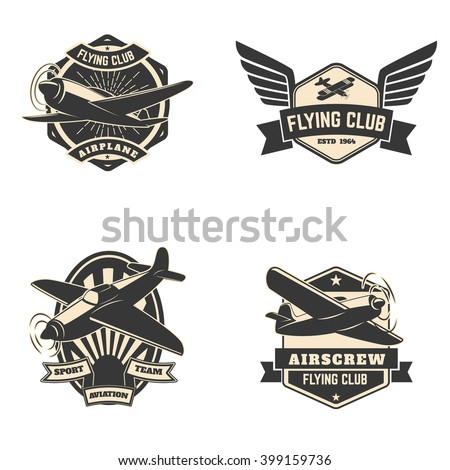 Set of flying club labels and emblems. Aviation labels. Planes icons. Design elements in vector. - stock vector