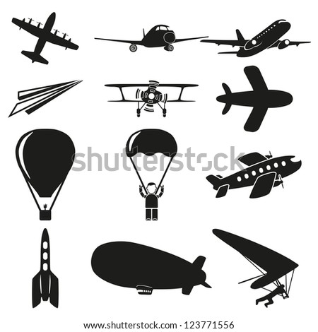 Set of flying icons - stock vector