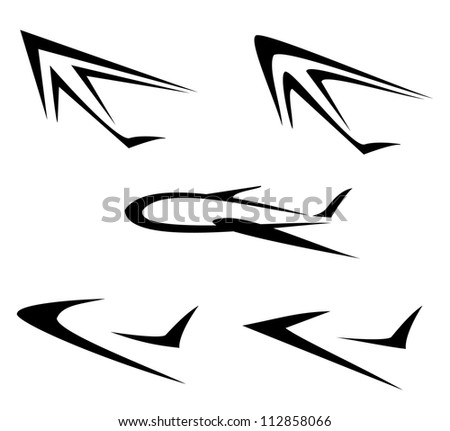 set of flying plane symbols, isolated vector icons - stock vector