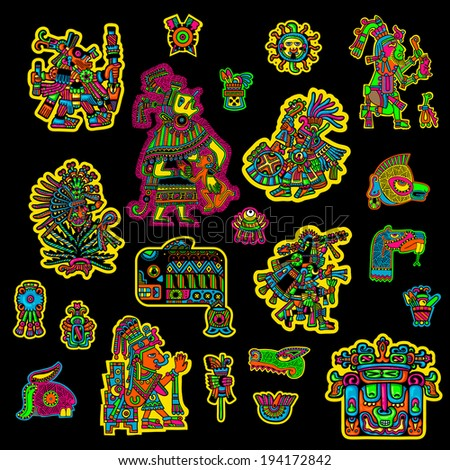 Set of flyuro image of the Maya. Maya designs. Maya design elements. - stock vector