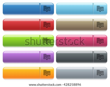Set of folder ok glossy color menu buttons with engraved icons - stock vector