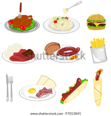 Set of food - stock vector