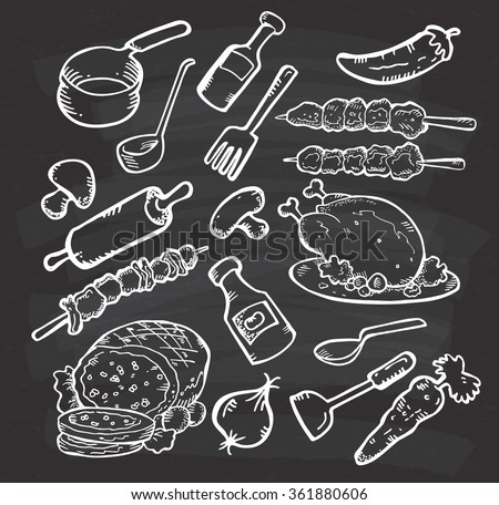 Set of food and cooking utensil on chalkboard background - stock vector