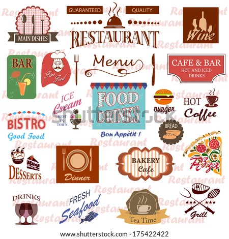 Set of food and drink labels,icons for restaurant and cafe. - stock vector