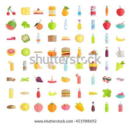 Set of food concepts. Fruits, vegetables, meat, sweets, beverages, bread, pizza, salads, sandwich, honey, egg, sauce, milk products for farm, grocery shop, food delivery, cafe icon, menu illustrating.