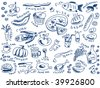 set of food doodles vector - stock vector