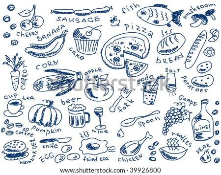 set of food doodles vector - stock vector