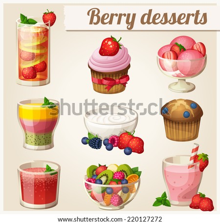 Set of food icons. Berry desserts. Strawberry smoothie, yogurt, strawberry lemonade, watermelon juice, salad, ice cream, blueberry muffin, cupcake, smoothie with peach, strawberry and kiwi.  - stock vector