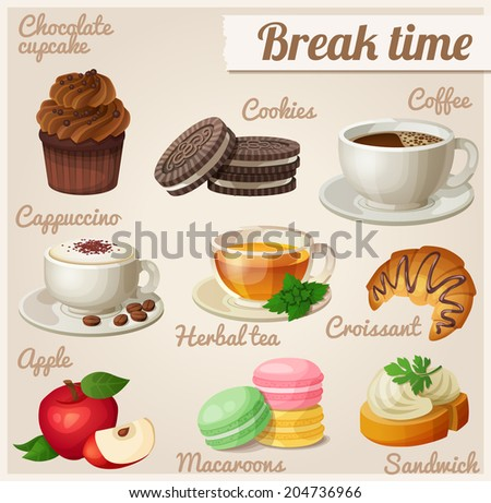 Set of food icons. Break time.  Chocolate cupcake, oreo cookies, cup of coffee, cappuccino, herbal tea, croissant, red apple, macaroons, sandwich. - stock vector